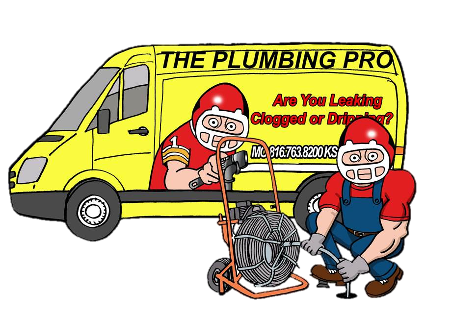 Plumbing Pro van with plumber snaking line